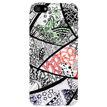 Cute Line Art Doodle Black, Red and Green iPhone 5/5S Case by Stuti