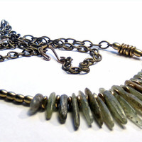 Green Kyanite Brass Necklace Bohemian Jewelry Tribal Jewelry