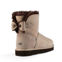 UGG Women Fashion Bow Wool Half Boots Snow Boots Shoes-3