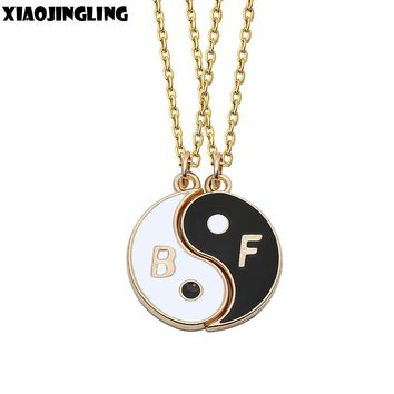 "XIAOJINGLING 2Pcs Yin Yang Tai ji Diagram Pendant ""Best Friends"" Rose Gold Chain Necklace Friendship Jewelry Unique Personalized"