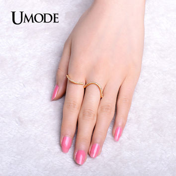UMODE Slim Delicate Micro CZ Vintage Pave Unique Two Finger Rings Gold Color Jewelry for Women Aneis Bague Femme 2016 UR0313A