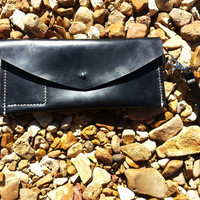Black Leather Envelope Clutch Small Purse