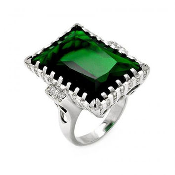 Silver Rectangle Green Created Emerald CZ Ring