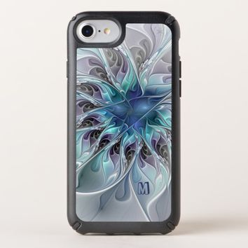 Abstract Modern Fractal Flower With Blue Monogram Speck iPhone Case