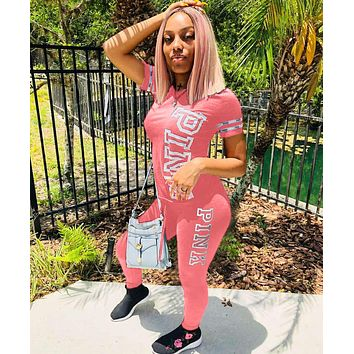 Victoria's Secret PINK Summer Women Casual Short Sleeve Top Pants Trousers Set Two-Piece Pink