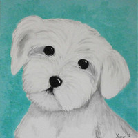 Original acrylic cute painting kids art children illustration dog puppy white furry Maltese bichon blue Happy kids art by Yany