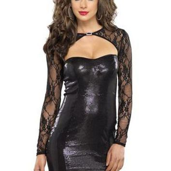 MDIGH3W Stretch sequin mini dress with lace shrug cut out detail in BLACK