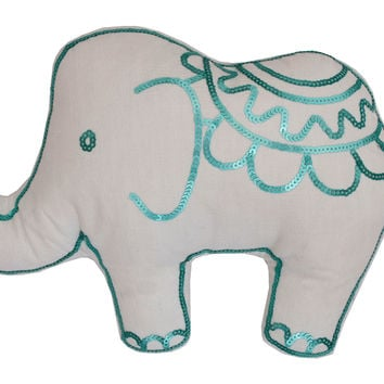 Elsie Elephant Shape Pillow, Blue, Decorative Pillows