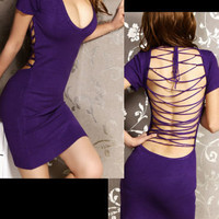 V22 V-Neck Backless Clubwear/Cocktail Dresses Purple M - Dresses