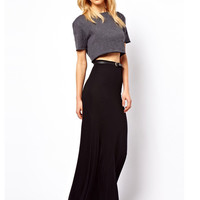 Black High-Waist Pleated A-Line Maxi Skirt