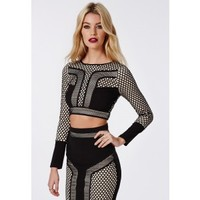 Contrast Fishnet Panel Crop Top Black - Tops - Missguided