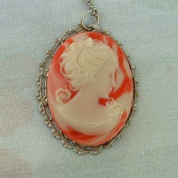 Pink White Cameo Pendant Necklace Feminine Molded Resin Jewelry