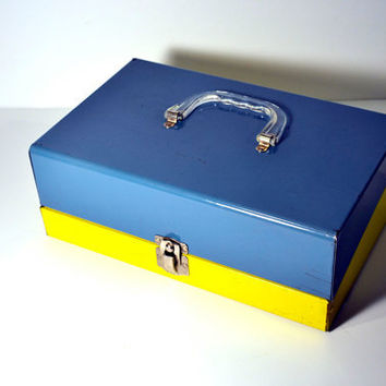 Blue & Yellow Industrial Storage Box Latched by BananasDesign
