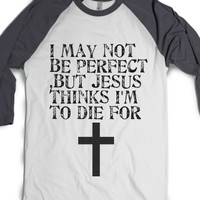 Im not perfect-Unisex White/Asphalt T-Shirt