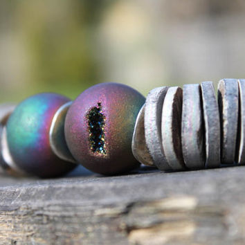 Druzy Agate Necklace Electric Plum Raw Stone Asymmetric Rainbow Agate Gray Silver Geode Peacock Titanium Metallic purple green