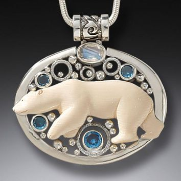 """""""Arctic Lights"""" Ancient Fossilized Mammoth Ivory Tusk, Blue Topaz and Rainbow Moonstone Silver Pendant"""