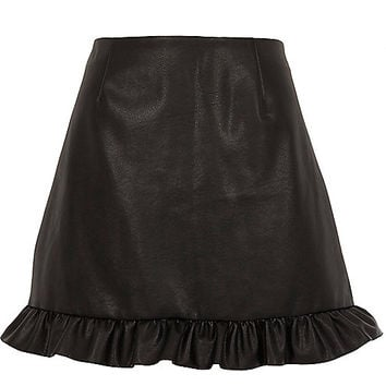 Black faux leather frill hem mini skirt