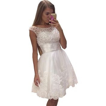 Good Style 2016 Pearls Dresses For Teens White Short Prom Dresses Robe De Cocktail Lace Tulle Graduation Dresses