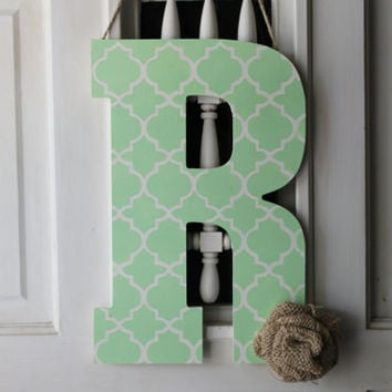 Mint quatrefoil initial door hanger - monogram door hanger, burlap initial door hanger, initial wreath, monogram wreath, door decor