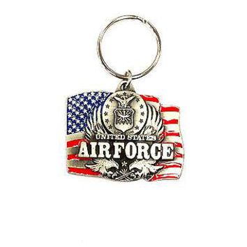 Air Force Heavy Duty Metal Pewter Keychain United States US Military