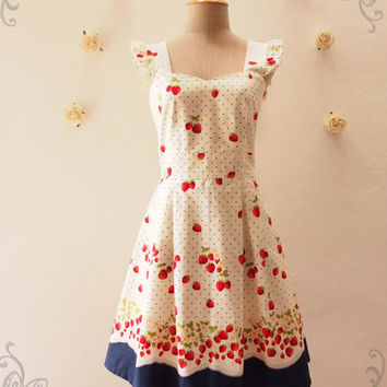 My Strawberry Dress Orchard Garden Dress Ruffle Strap Sweet Tea Dress Cute Dress Party Prom Wedding Dress Sundress Navy -Size XS-XL, Custom