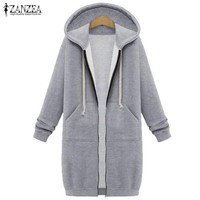 ZANZEA Winter Coats 2017 Fashion Women Long Hooded Sweatshirts Coat Casual Pockets Zipper Solid Outerwear Hoodies Jacket