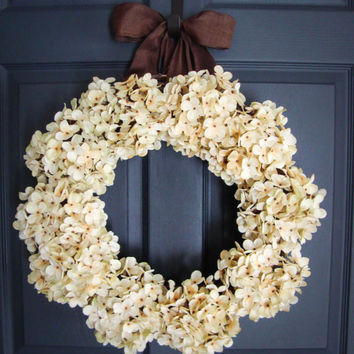Hydrangea Wreaths - Spring Wreaths - Wedding Wreaths - Door Wreath - Outdoor Wreath - Housewarming Gift - Wedding Gift Ideas