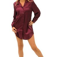 Del Rossa Women's Satin Nightshirt with Sleep Mask - Sleepshirt