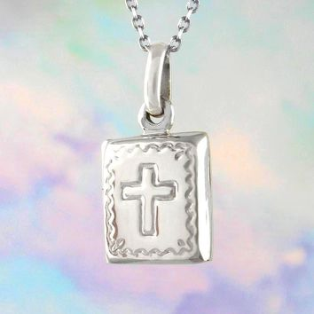 Tiny Bible Locket Necklace with Cross