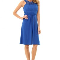 JD292Eblue pretty dress with stunning jeweled neckline