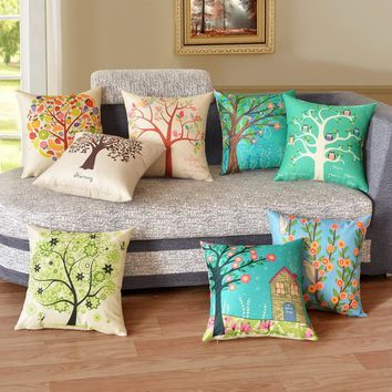 HappyTree Cushion Cover Plant Season Life Tree Cotton Linen Colorful Decorative Pillow Case Chair Square Waist and Seat 45x45cm