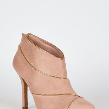 Peach Suedette Gold Trim High Heel Ankle Boots