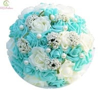 Bride Holding Flower Romantic Rose Marriage Wedding Bouquets Flower Girl Accessories Celebration Props