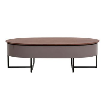 Hansel Walnut Oval Lift-Top Coffee Table, Walnut/Gray