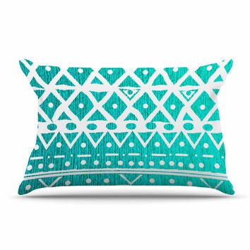 "Nika Martinez ""Aquamarine Tribal"" Teal Blue Pillow Sham"
