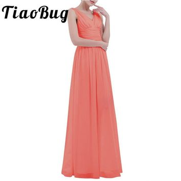 TiaoBug 8 Colors V-Neck Ladies Women Bridesmaid Dress Princess Pageant Wedding Formal Party Dress Ball Gown Prom Maxi Dress