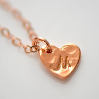 Personalized Rose Gold Heart Initial Charm Necklace - Personalize Necklace - Initial Necklace - Rose Gold Necklace - Heart Necklace - Gift