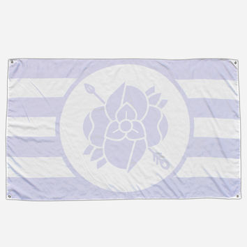 Flower Arrow White & Purple Flag