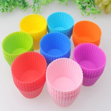 Lingstar 24-Pack Reusable Silicone Baking Cups Cupcake Liners - Muffin Cups Cake Molds