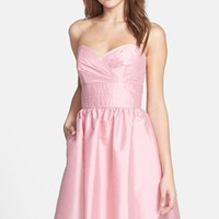 Women's Alfred Sung Strapless Satin Fit & Flare Dress