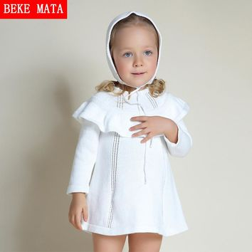 BEKE MATA Baby Girl Sweater Dress Winter 2016 Full Sleeve Kid Princess Dresses For Girls Hooded Shawl Knitted Toddler Girl Dress