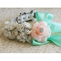 White, peach and mint Wedding Floral dog collar, Pet Wedding