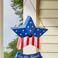Patriotic Americana Birdhouse Ceramic Star Shape God Bless America