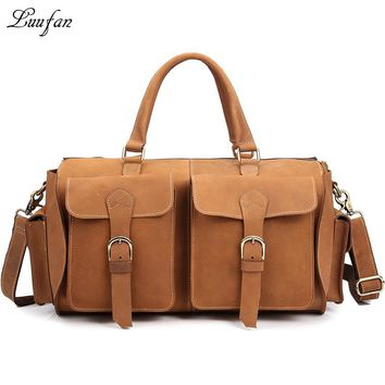 Men's Vintage Crazy horse Leather shoulder bag Genuine leather travel messenger bag Durable Real leather weekend bag