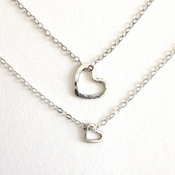 Sisters Heart Necklaces. Big Sister, Little Sister Necklaces. Large Heart Small Heart Sterling Silver Necklace Set.