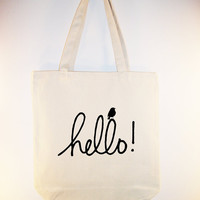 Adorable hello tote with little bird  available in by Whimsybags
