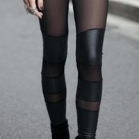 Mesh/PU Contrast Panel Black Leggings