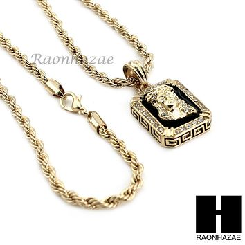 "MENS ICED OUT GOLD BLACK ONYX JESUS FACE CZ PENDANT 24"" ROPE NECKLACE SET N019"