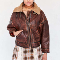 Silence + Noise Smith Worn Leather Aviator Jacket - Urban Outfitters