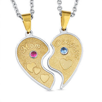 Personalized Mom and Daughter Heart Pendants in by NaomisCo2
